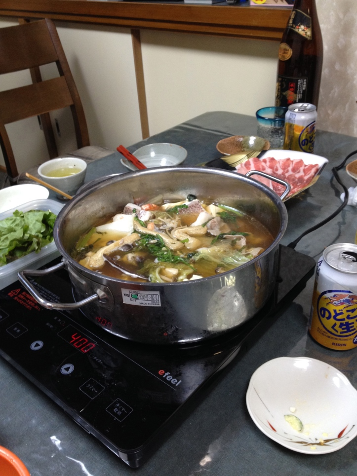 japanese Nabe or hot pot at my wife's family's house in rural Osaka Prefecture...delicious!