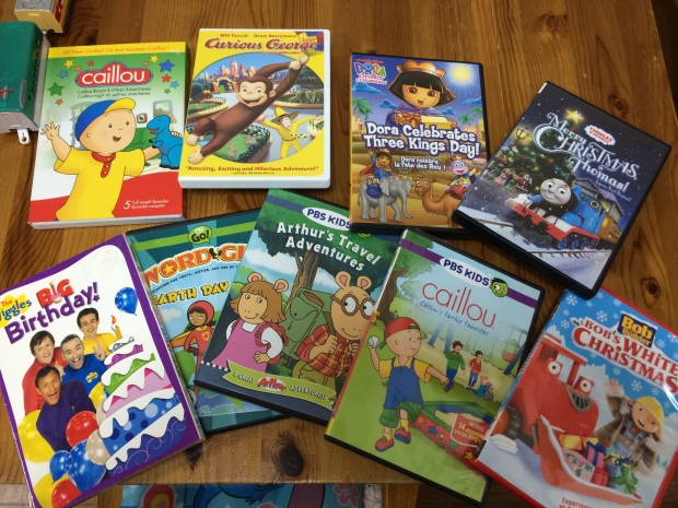 Some of the English language DVDs my kids watch.