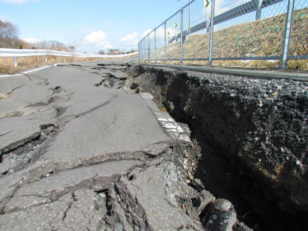 A road near Jeff's home in Yabuki-machi, Fukushima, destroyed by the earthquake, sitting in disrepair even one year later.