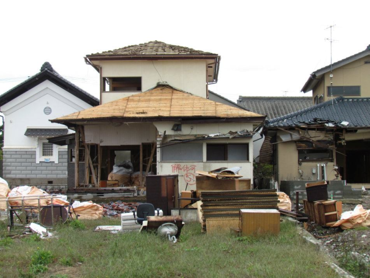 A house destroyed by the earthquake and tsunami.
