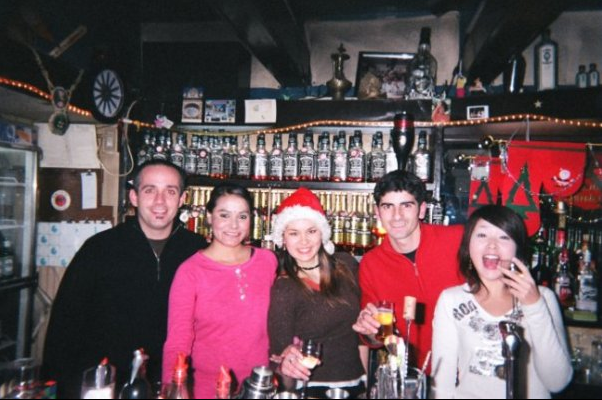 Just Japan Podcast host Kevin at an expat bar in Fukuoka, Japan on Christmas night 2005 (on a visa run from South Korea).
