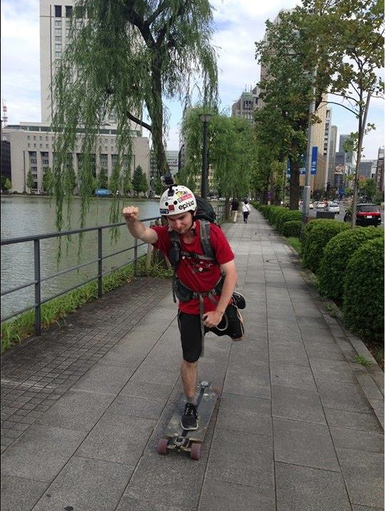 Jack during his cross-Japan longboard journey.