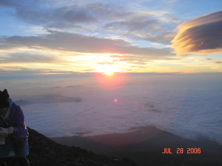 John's picture of sunrise from the top of Mt. Fuji.