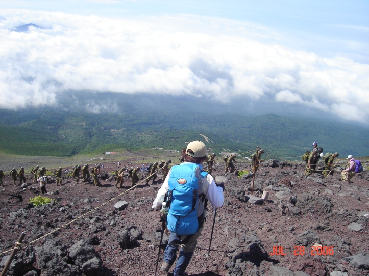 You can see the Japanese soldiers who saluted John as he came down from Mt. Fuji.