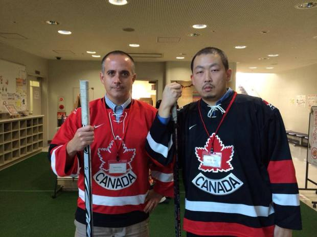 Just Japan Podcast host Kevin O'Shea with Patrick Kwan. This was at an English language event when we worked together for the City of Osaka. Representin Canada!